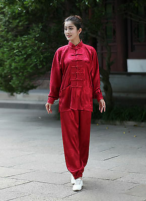 New Red Tradition Chinese Style Women's Kung Fu Suit Tai Chi Clothing W2526-12#