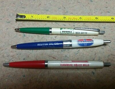 Vintage Advertising Pen Lot of 3, Standard Oil, Borden, Hughes, Wisconsin
