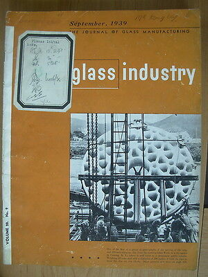 The Glass Industry Vintage Magazine Septembe 1939 Journal Of Glass Manufacturing