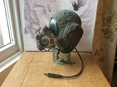 Vintage post WW2 military flying pilots helmet and mask