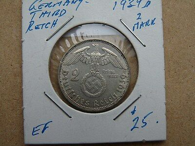 Vintage Coin Germany Third Reich 1939  A 2 Marks Silver Value 25.00   C1806