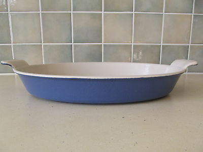 VINTAGE LE CREUSET CAST IRON FRENCH LARGE OVAL GRATIN DISH OVEN DISH BLUE 32cm