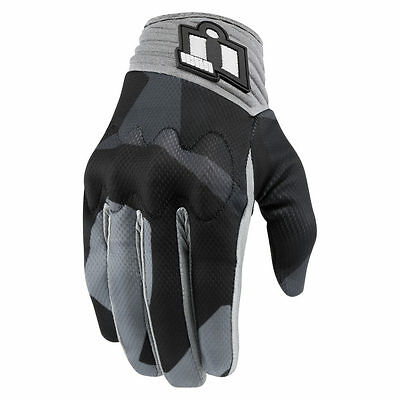 Icon Anthem Deployed Short Summer D3O Touchscreen Motorcycle Gloves - Grey