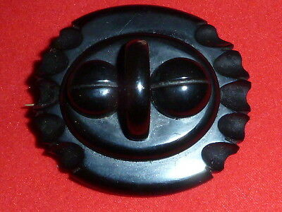 Superb Large Antique Victorian Hand Carved Whitby Jet Brooch Pin c1860