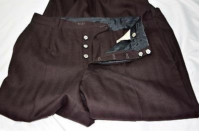 Vintage Men's 20's 30's Dark Brown Striped Wool Button Fly Pants Trousers 34x33