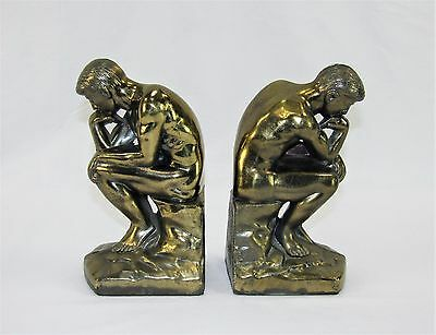 """Vintage Antique Brass """"The Thinker"""" Metal Bookends - Marked Copyright 1928"""