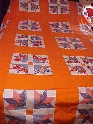 Vintage DOVE IN THE WINDOW Quilt Top w/ Orange Sashing