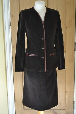 VINTAGE 1960s chocolate brown velvet skirt suit size 8