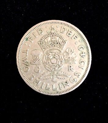 1949 UK Great Britain British Two 2 Shillings Crowned Rose Coin LOT#H808