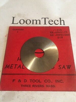 "New Milling Cutter Slitting Saw 2 X .020 X 1/2""bore HS F&D"