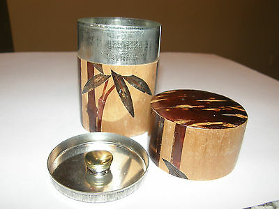 Vintage Asian Japanese Chinese Cherry Wood Wooden Tree Bark Bamboo TEA CADDY