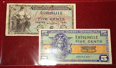 Military Payment Certificates MPC: Five (5) Cents, 2 Notes, Series 481 & 521 - A