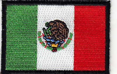 """MEXICO FLAG w/BLACK BORDER (2 1/4"""" x 1 1/2"""") - MEXICAN FLAG - IRON ON PATCH"""
