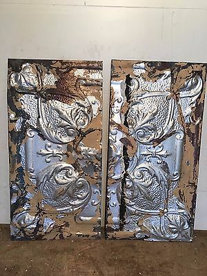 "2 - 24"" x 12"" Antique Ceiling Tin Tile Vintage Reclaimed Salvage Re Purpose Art"