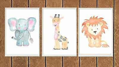Set of Three Woodland Watercolor Animal Poster Prints Kids Baby Nursery Wall Art