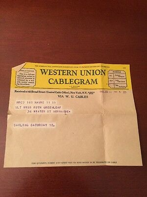 Original Western union Cablegram 1946