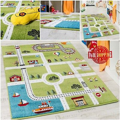 Childrens Rug Kids Room Rug Nursery Carpet Town Street Design Playroom Mat Green