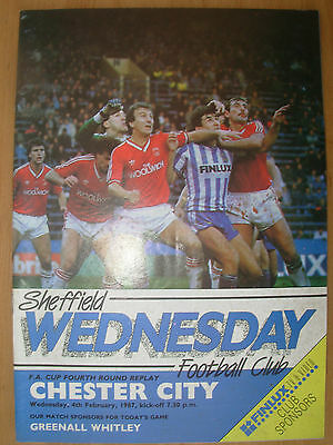 SHEFFIELD WEDNESDAY v CHESTER CITY 1986-87 FA CUP REPLAY