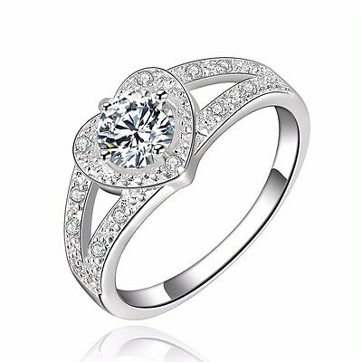 Stunning 925 Sterling Silver Filled Women's Love Heart Wedding Engagement Ring