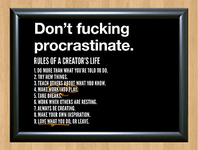 Don't Procrastinate Inspirational Motivational Quote A4 Print Poster Photo