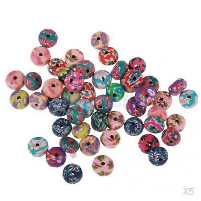5x 50 Mixed Floral Polymer Clay Oval Loose Spacer Beads Charms for DIY Craft