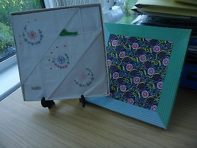 Vintage Irish Cotton Ladies Handkerchiefs 3 Boxed Set William Morris Pic Box Nib