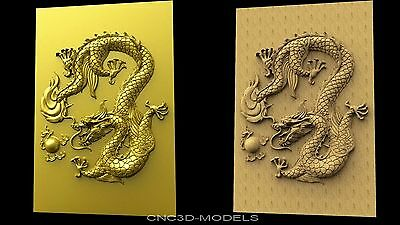 3D STL Models for CNC Router Engraver Carving Artcam Aspire Dragon Animal 1664