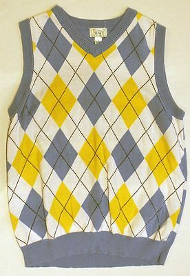 Boys CHILDRENS PLACE Blue White Yellow Sweater Vest SIZE Large L 10 12 Kids