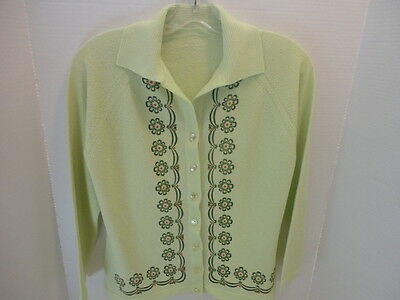 Vintage 1960's Textured Lime Green  Cardigan Sweater Size 36