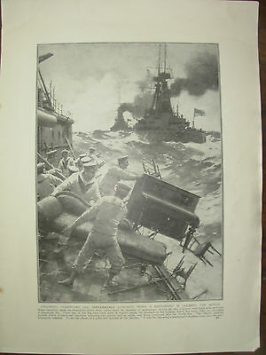 Vintage 1914 Wwi Magazine Print - Battleship Clears The Decks Ready For Action