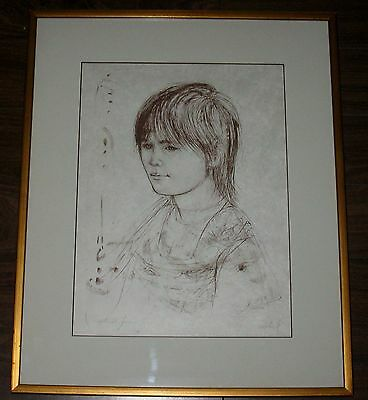 Ltd Edition Artist Proof Pencil Signed Edna Hibel Lithograph Print Young Lady