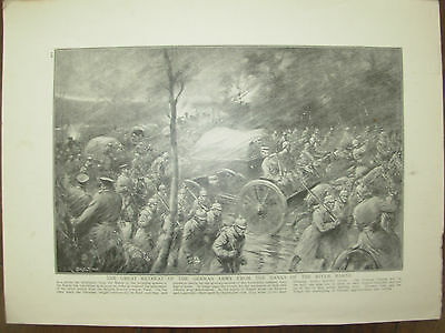 Vintage 1914 Wwi Magazine Print - German Retreat From The Banks Of River Marne