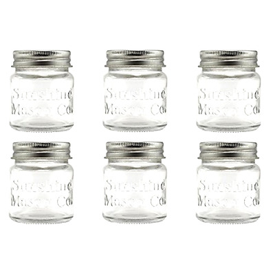 Mini Mason Jar Shot Glasses with Metal Lid 2 Oz, 6 Pack by Sunshine Mason Co.