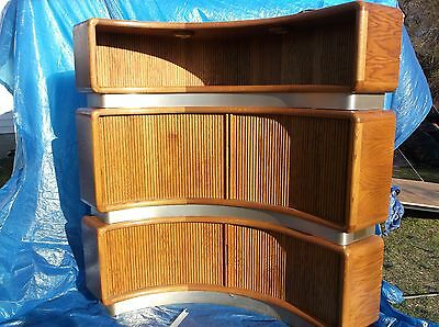 Amazing 80s Modern hand crafted asymmetrical tri-level entertainment center
