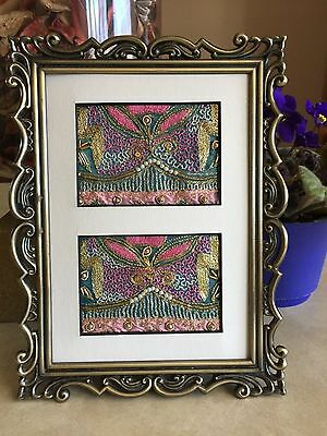 Pair of Framed Textile ACEOs Beaded Embroidered Vintage India Sari Material