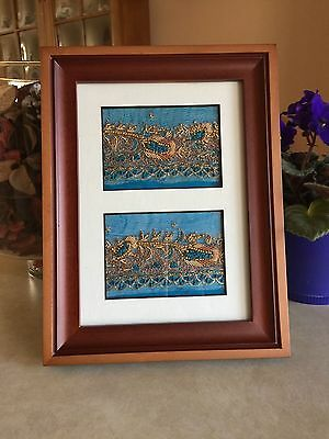 Pair of Framed Beaded & Embroidered Vintage India Sari Material ACEOs