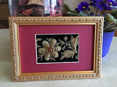 Vintage India Zari Beaded & Embroidered Silk Velvet ACEO in Gold-Tone Frame