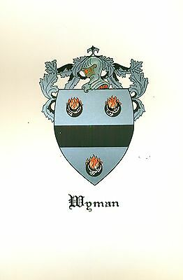 *Great Coat of Arms Wyman Family Crest genealogy, would look great framed!