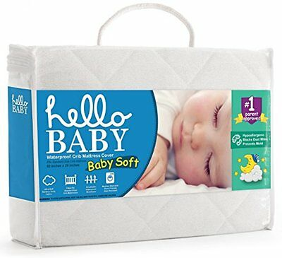 Hello Mattress Pads Baby Waterproof Crib Mattress Cover- Quilted Ultra Soft Pad-