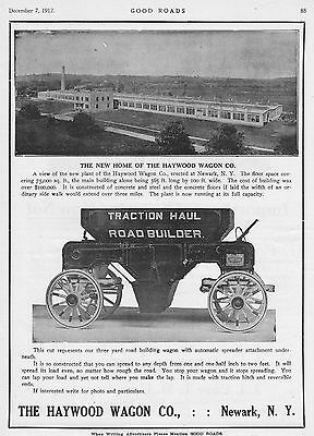 Vintage 1912 New Home of The HAYWOOD WAGON CO. & Road Builder Wagon ad~Newark,NY