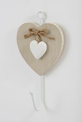 Vintage Heart Coat Towel Wall Hook Shabby Chic White Wooden Metal Rustic Decor