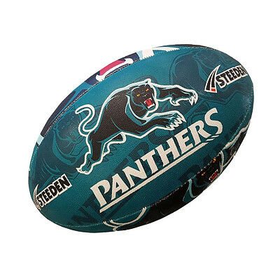 Penrith Panthers NRL Supporter Team Ball Full Size Rugby Steeden w Hand Pump