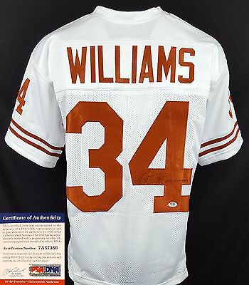 Ricky Williams Autographed Signed White Texas Longhorns Jersey PSA