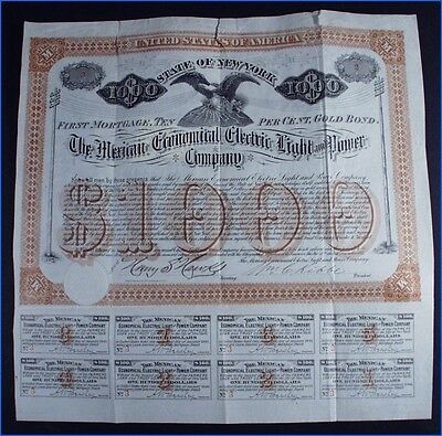 1884-1893 MEXICAN ECONOMICAL ELECTRIC LIGHT & POWER 1st MORTGAGE 10% GOLD BOND