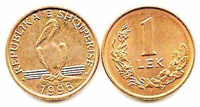 One Hundred (100) Albania 1 Lek Uncirculated Bronze Coins,1996, KM 75,Pelican