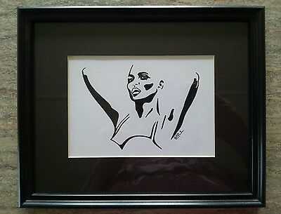 Original Black Ink Drawing Female Figure By James T Parada