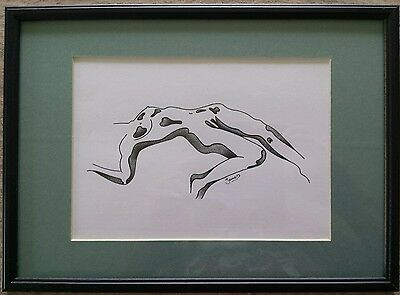 Original Framed Black Ink & Pencil Nude Drawing By James T Parada