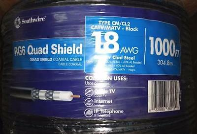Coaxial Wire 1000 Ft. Black RG6U Quad Shield Solid Cable TV Video Indoor Outdoor