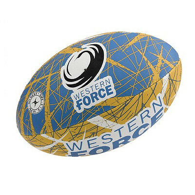 Perth Western Force Gilbert Supporter Rugby Union Ball Full Size w Hand Pump