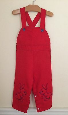 """Vintage 1970s Boys SEARS Red Overalls Puffy BUNNIES """"L"""" (Fit Like 18 Months)"""